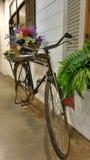 Велосипед и красочная автостоянка корзины цветка на белой стене Стоковое Изображение