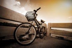 Велосипед на мосте Стоковые Изображения