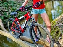 Велосипед переходить вброд девушки задействуя повсеместно в вода Стоковая Фотография