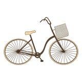 Велосипед семьи ретро с корзиной иллюстрация вектора