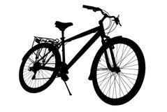 Велосипед силуэта изолированный на белой предпосылке Стоковые Изображения