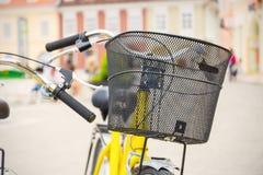 Велосипед с корзиной стоковые изображения rf