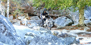 Велосипед moutain молодого человека практикуя в лесе Стоковая Фотография