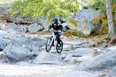 Велосипед moutain молодого человека практикуя в лесе Стоковая Фотография RF