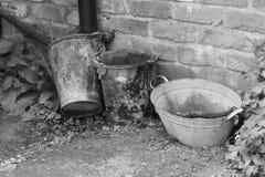 Ведра принятые в черно-белое Стоковое Фото