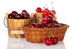 Ведра с красной сладостной вишней Стоковая Фотография RF