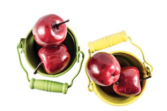 2 ведра с красными яблоками Стоковое Изображение RF