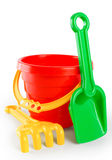Ведро игрушки младенца и грабл лопаткоулавливателя Стоковые Фотографии RF