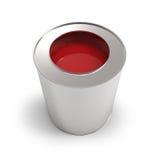 Ведро металла с красной краской Стоковое Изображение