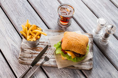 Ведро фраев и гамбургера Стоковые Фотографии RF