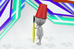ведро человека 3d на головной иллюстрации Стоковое Изображение