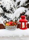 Ведро яблок и красного фонарика Стоковое Фото