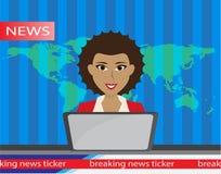 Ведущий на новостях телевизионной передачи Плоская иллюстрация вектора с отпуском ломать Стоковое Фото