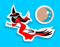 ведьма вектора JPEG иллюстрации летания eps Стоковое Фото