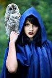 Ведьма в клобуке с сычом стоковое изображение rf