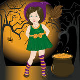 Ведьма девушки иллюстрация штока
