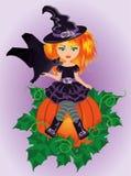 Ведьма и летучая мышь хеллоуина маленькие Стоковое Изображение RF