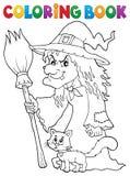 Ведьма книжка-раскраски с котом и веником Стоковое Изображение