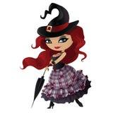 Ведьма красоты рыжеволосая с зонтиком бесплатная иллюстрация