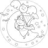 Ведьма летания Halloween расцветки с воздушным шаром Стоковое Изображение RF