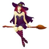 Ведьма на венике Стоковые Фотографии RF