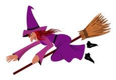 Ведьма на венике Стоковое Изображение RF