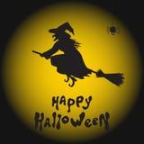 Ведьма, паук и луна хеллоуина Стоковые Изображения RF