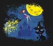 Ведьма с веником и котом Стоковые Изображения