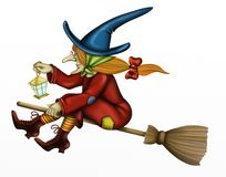 Ведьма с фонариком Стоковые Фотографии RF
