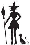 ведьма тыквы открытки луны halloween черного кота Стоковые Фотографии RF