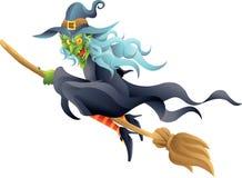 Ведьма хеллоуина на венике Стоковое Фото