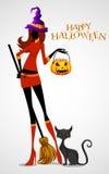 Ведьма хеллоуина иллюстрация вектора