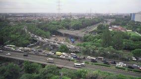 Взаимообмен шоссе в Джакарте на пасмурный день видеоматериал