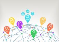 Взаимодействие и сообщение внутри социальная сеть с соединенными приборами любят тетрадь, умный телефон и умный вахта Стоковые Фото