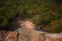 Взбирающся к верхней части большой пирамиды Coba Nohuch Mul самая популярная работа туристов Вверх узкая часть 120 и ste Стоковое Изображение RF