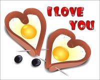 Взбитые яйца в форме сердца Стоковая Фотография RF