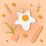 Взбитые яйца, сосиска, луки, завтрак Стоковое фото RF