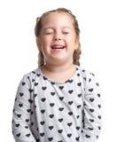 взволнованности Маленькая девочка усмехается Предпосылка изолированная белизной Стоковое Изображение RF