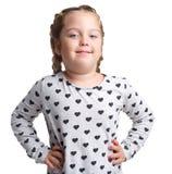 взволнованности Маленький курчавый представлять девушки Предпосылка изолированная белизной Стоковое Изображение