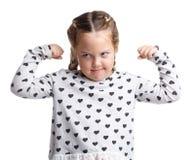 взволнованности Серьезная маленькая курчавая девушка Предпосылка изолированная белизной Стоковая Фотография RF