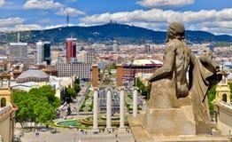 Взгляды Барселоны от национального дворца стоковая фотография
