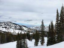 Взгляды зимы величественные вокруг гор Уосата передних скалистых, лыжного курорта Брайтона, близко к озеру сол и долине Heber, Pa Стоковое Изображение RF