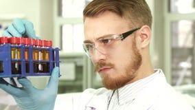 Взгляды молодые работника лаборатории тщательно на каждой пробирке стоковые фото