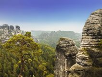 Взгляды национального парка Saxon Швейцарии Bastei стоковые фотографии rf