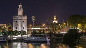 Взгляды ночи города Севильи Стоковое Фото