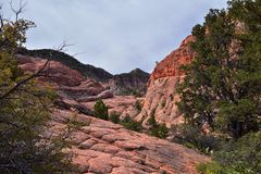 Взгляды от более низкого следа бухты песка к образованию вортекса, парком штата каньона снега в консервации Ar красных скал нацио стоковое изображение rf