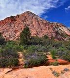 Взгляды от более низкого следа бухты песка к образованию вортекса, парком штата каньона снега в консервации Ar красных скал нацио стоковая фотография