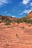 Взгляды от более низкого следа бухты песка к образованию вортекса, парком штата каньона снега в консервации Ar красных скал нацио стоковое фото