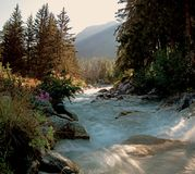 Взгляды показывая высокие горы, реки, леса, долины и высокогорный ландшафт Ла Fouly в кантоне Вале, Швейцарии стоковые фото
