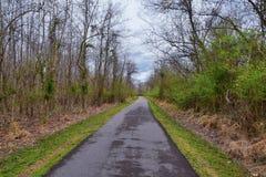 Взгляды природы и троп вдоль Greenway дн Shelby и естественных следов frontage Рекы Cumberland зоны, hardw bottomland стоковое фото